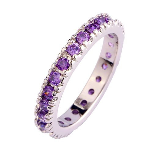 Rond Cadeau Améthyste Violet Blanc Fashion Jewelry Silver Ring Taille 6 7 8 9 10 11