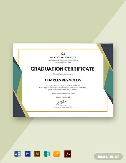 Free Graduation Certificate Template Word Doc Google Docs Graduation Certificate Template Free Certificate Templates Certificate Design Template