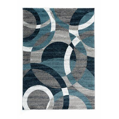 Ebern Designs Allison Abstract Gray Area Rug Modern Area Rugs Circle Rug Rugs