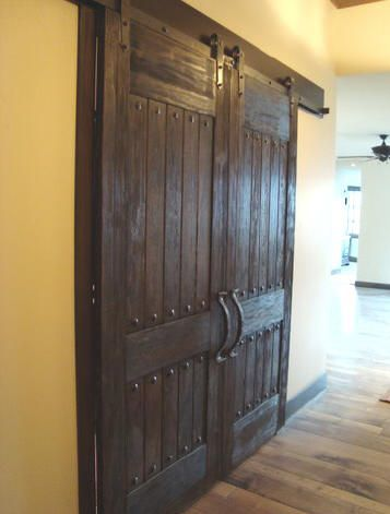 Love These Rustic Barn Doors The Detailed Decorative Accents Foyer And Great Room Doors To Dining Rustic Barn Door Barn Doors Sliding Barn Door