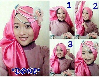 Tutorial Hijab Pesta Bahan Satin Pesta Hijab Kursus Hijab