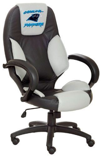 NFL Carolina Panthers Leather Office Chair by Unknown. Save 23 Off!. $270.00. Tilt Tension Adjustment & Single Lever Seat Height Control with Locking Mechanism.. Styled and manufactured to replicate a sports car bucket seat.. High Back Executive Office Chair. Officially Licensed using Top Grain Leather in the Team Colors Contoured Lumbar Support extra padded seat for maximum comfort.. Exclusively Licensed with the NFL. NFL Carolina Panthers Leather Office Chair