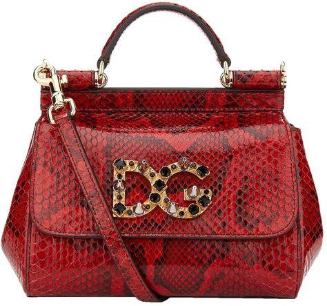 Dolce   Gabbana Mini Sicily Embellished Python Shoulder Bag  3daee5d7718d5