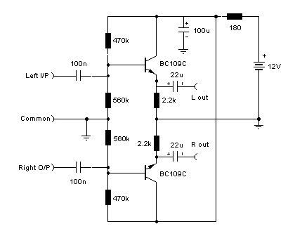 Pre Amp Schematic Audio Stereo Line Driver Simple Schematic Collection Noise Reduction Loudspeaker Lin Audio Amplifier Stereo Amp Electronic Circuit Design