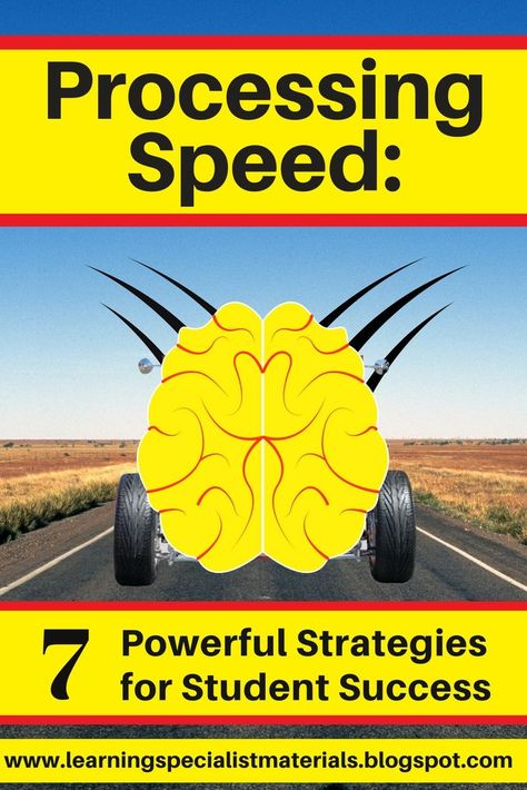 Processing Speed: 7 Powerful Strategies for Student Success (Learning Specialist and Teacher Materials - Good Sensory Learning) Memory Strategies, Adhd Strategies, Teaching Strategies, Learning Disabilities, Auditory Learning, Dyslexia Teaching, Developmental Disabilities, Developmental Psychology, Professor