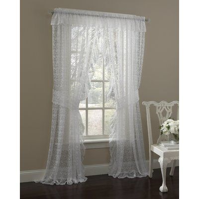 House Of Hampton Maximo Traditional Elegance Floral Semi Sheer Lace Window Curtain Ruffled Panel Pair Size 130 X