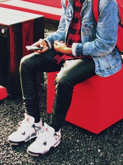 Levi's Denim jacket red flannel leather pants an Jordan white cement