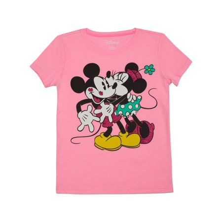New Disney Minnie Mouse Shirt Girls White /& Pink