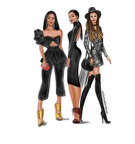 Group of 3 Custom Fashion illustration drawing fashion illustrations Group of 3 Custom Fashion illustration