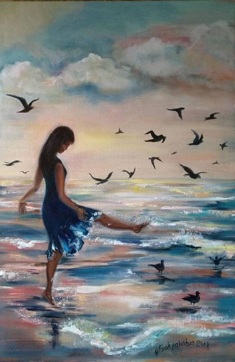 Girl and the birds on the sunset Original painting Impressionism Art Living Room Decor Best Gift Seascape Art Birds on sunset Girl and sea Girl and the birds Romantic Theme Dreamy Girl Seaside Sunset Contemporary Art Modern Impressionism Best Gift Teen Room Interior Contemporary Art A Girl with