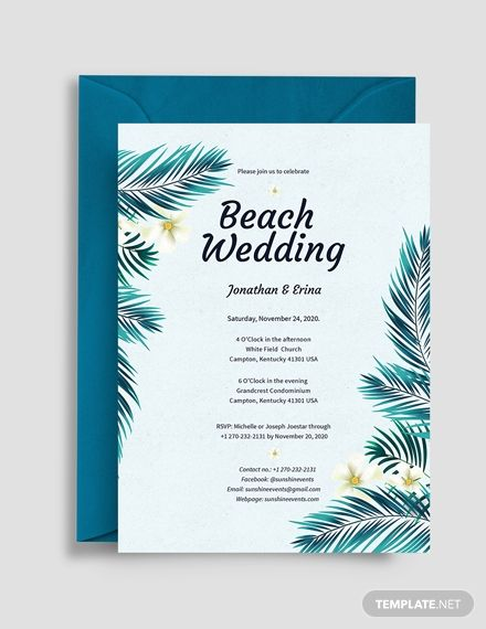 Beach Wedding Invitation Template Free Pdf Word Psd Apple Pages Illustrator Publisher Outlook Wedding Invitation Templates Free Wedding Invitation Templates Tree Wedding Invitations