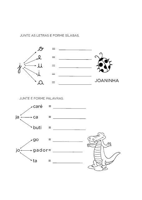 Atividades De Alfabetizacao Com A Letra J So Escola Letra J