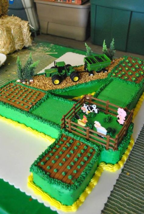 John Deere tractor farm field cake – Nathan likes the individual fields. Tractor Birthday Cakes, Tractor Cakes, Cake Birthday, 4th Birthday, Birthday Ideas, John Deere Party, Truck Cakes, Farm Cake, Birthday Cake Decorating