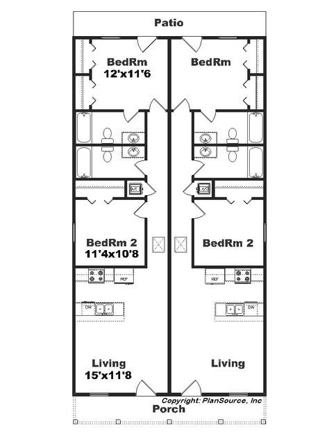 Narrow Duplex J1690 15d Plansourceinc Com Duplex Plans Narrow