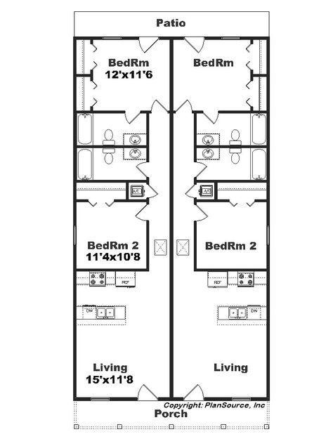 Narrow Duplex J1690 15d Plansourceinc Com Duplex Plans Duplex House Plans Duplex Floor Plans