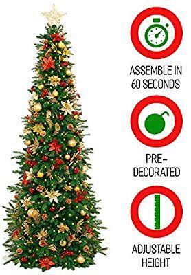 Amazon Com Easy Treezy Prelit Christmas Tree Easy Setup Storage In 60 Seconds 5 5ft Realistic Natura Pre Lit Christmas Tree Artificial Tree Christmas Tree