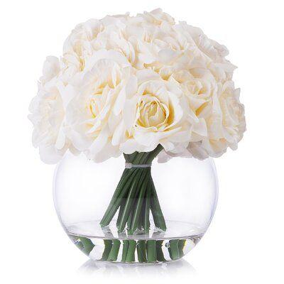 Mercer41 21 Heads Rose Silk Floral Arrangement In Round Vase In 2020 Flower Vase Arrangements Silk Flower Arrangements Flower Arrangements
