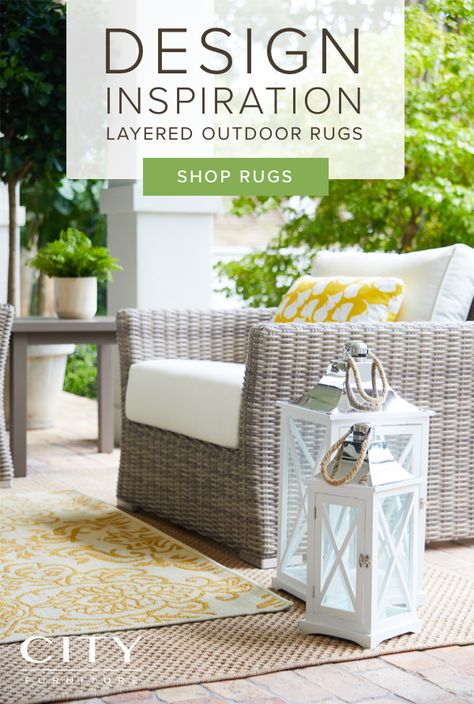 Layered Outdoor Area Rugs Are An Easy Way To Polish Your Backyard Living Room Start With A Neutral I Outdoor Rugs Patio Outdoor Furniture Sets Backyard Living