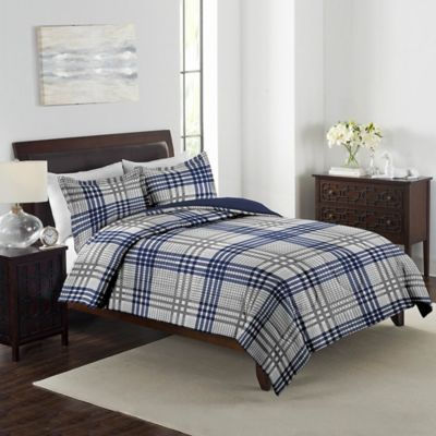 3 PC Queen Bed Quilt Set Farmhouse Pottery Rustic Blue Barn Navy Plaid Patchwork