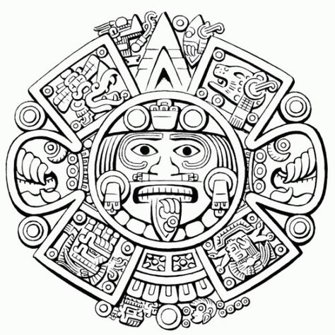 Aztec Art Coloring Pages on moon goddess art vector . Chicano Tattoos, Chicano Art, Body Art Tattoos, Tatuagem Azteca, Opa Tattoo, Tattoo Maori, Maya Art, Sol Maya, Aztec Warrior Tattoo