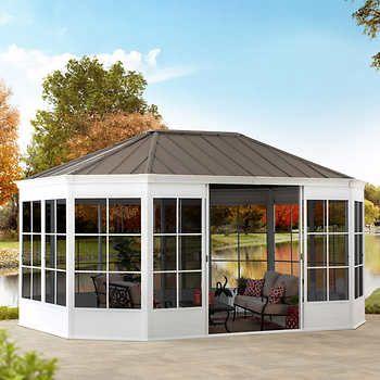 Sunjoy 12 X 16 Cape Blue Hardtop Screenhouse In 2020 Home Deco Cape Blue