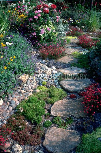 Rock garden for side of house. No, no!  Just those huge whatever they are steeping stones.  I think our garbage can might look really good on one ....
