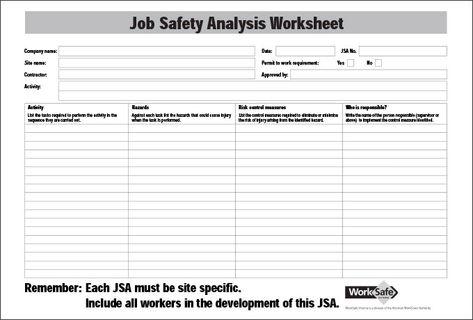 Job Safety Analysis Worksheet Google Search Job Analysis Analysis