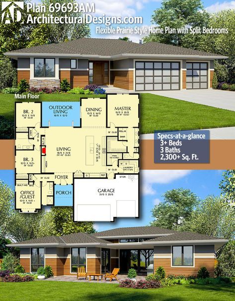 Plan 69693am Flexible Prairie Style Home Plan With Split Bedrooms Architectural Design House Plans Prairie Style Houses House Plans
