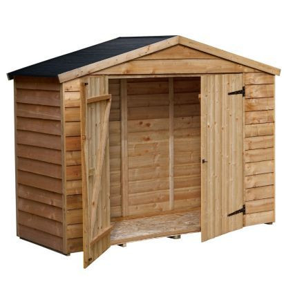 Blooma 7x3 Wooden Overlap Bike Shed With Plastic Roof Home Delivered With Assembly 5397007103649 Shed Shed Homes Bike Shed
