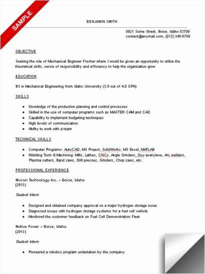Mechanical Engineer Resume Sample Fresh Mechanical Engineering Student Resume Sample Engineering Resume Templates Mechanical Engineer Resume Engineering Resume