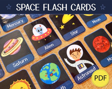Solar System Flash Cards Pdf, Space Flashcards Printable, Planets Three Part Cards, Montessori Cards, Nomenclature Flashcards, Home School