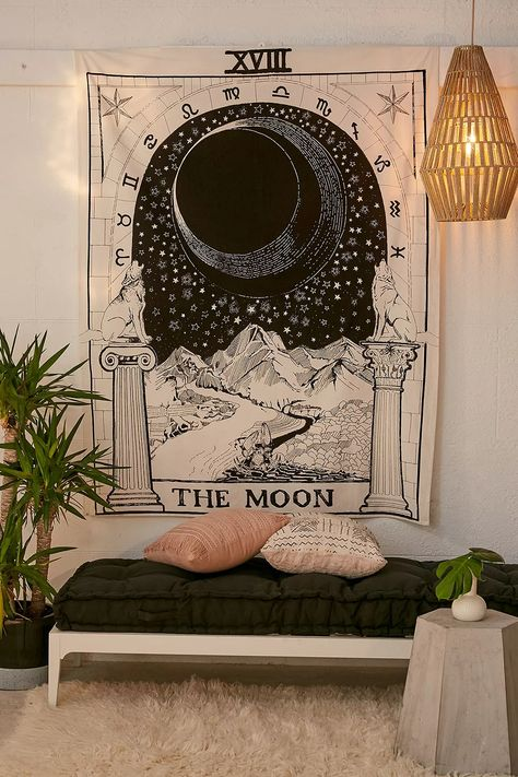 The Moon Tarot Card Tapestry | Urban Outfitters UK