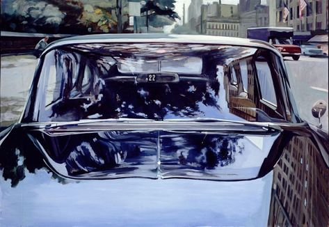 This piece is an oil on hardboard painting by Richard Estes made in 1967. I find it really interesting how Estes was able to get the reflective surface so realistic, because he had to mirror the glass onto the hood of the car which I think would be really difficult. The piece also puts emphasis on the shininess of the car, and makes the background a little fuzzier, which I enjoy. I would really like to try an oil of a shiny object because I could control the paint with the linseed oil.