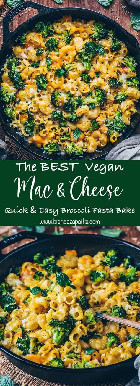 This is the Best Baked Vegan Mac and Cheese with Broccoli Recipe that is ready in under 30-minutes! It's a delicious macaroni pasta bake with dairy-free easy vegan cheese sauce and healthy veggies that can easily be made nut-free & gluten-free! #pasta #vegetarian #broccoli #veganrecipes #vegancheese #recipes #food #vegan #cheesesauce #pastabake #casserole #cooking #macandcheese #veganmacandcheese #maccaroni | biancazapatka.com