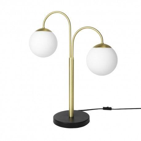 Broste Copenhagen Caspa 2 Lampe De Table Art Deco Bras Laiton Boules Blanche Lampes De Table Lampe Design Lampe A Poser Design
