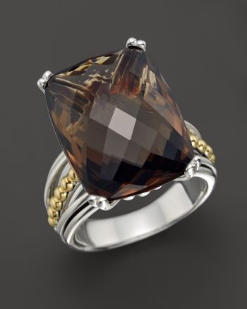 Lagos 18K Gold and Sterling Silver Prism Smoky Quartz Ring