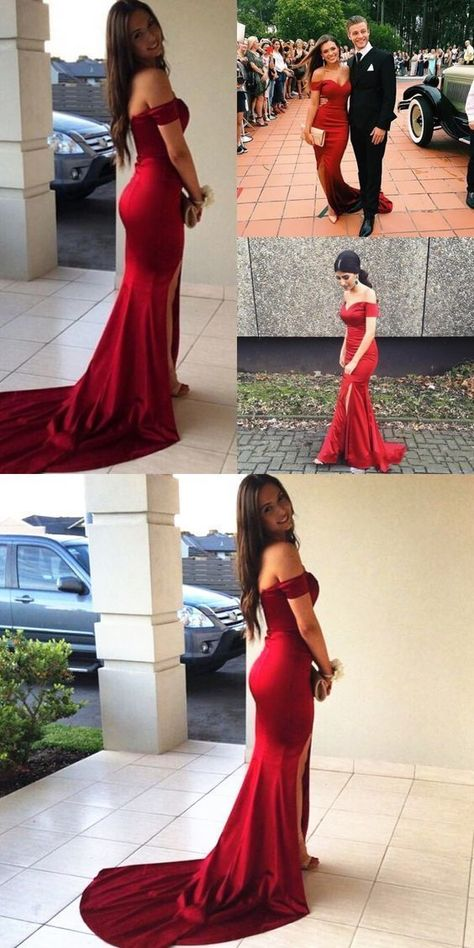acba1471915f Sexy Off the shoulder Mermaid Long Dark Red Prom Dress Evening Dress by  ainiprom, $117.32 USD