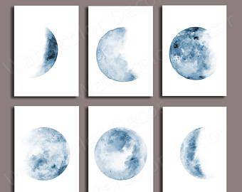 Moon Phases Watercolor Art Prints Ensemble De 5 Phases Lunaires