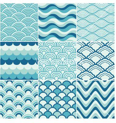 Seamless ocean wave pattern vector image on VectorStock