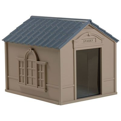Suncast Deluxe Dog House Dh350 Large Blue Outdoor Dog