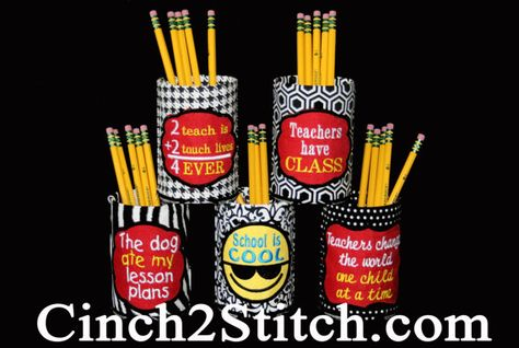Teacher Pen / Pencil Holder Gifts In The by machine embroidery design