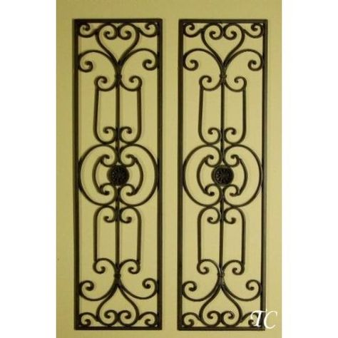 Tuscan Mediterranean Wrought Iron Wall Grille Set of 2   Decorating ...