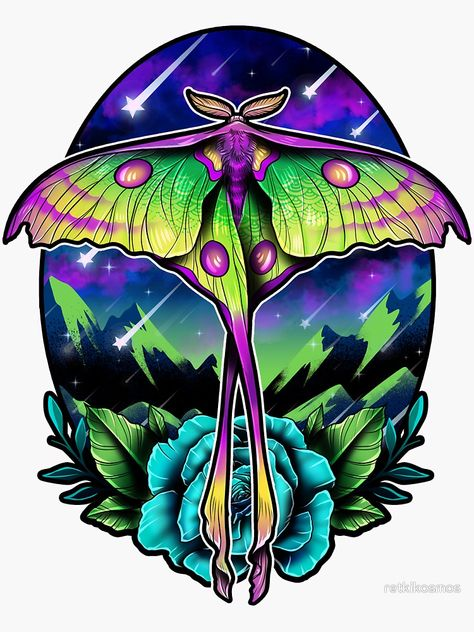 """Comet Moth"" Sticker by retkikosmos | Redbubble"