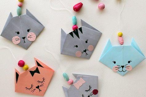origami facile: pliage de papier en forme de chatons mignons