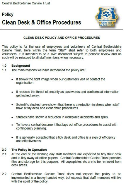 Clean Desk Policy Checklist Template 40 Templates Useful For
