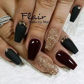 Dark red coffin nails for birthday - New Expression Nails coffin nails black and...