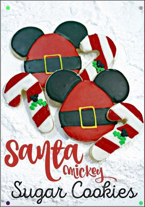 This Recipe For Santa Mickey Sugar Cookies Is Perfect For A Class Party Dessert Get The Kids To Head To The Kitchen With You To Do Some Holiday Baking It&#39S Such A Fun Activity To Do Together. #Disney #Disneychristmas #Mickeymousecookies #Disneycookies