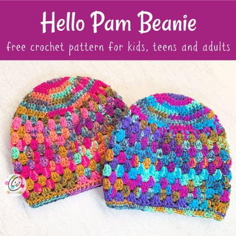 Hello Pam Beanie - free crochet pattern from Snappy Tots. Crochet Adult Hat, Crochet Beanie Pattern, Easy Crochet, Crochet Hooks, Free Crochet, Crochet Patterns, Hat Patterns, Slippers Crochet, Crochet Towel