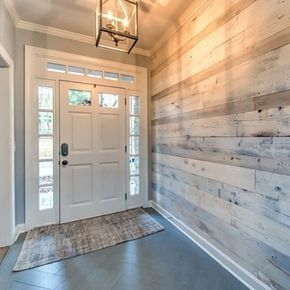 In LOVE with the white washed barn wood feature wall and herringbone tile!  #feature #herringbone #washed #white