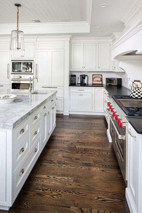 "Kitchen Flooring Stain Color. Oak Kitchen Flooring Stain Color. Oak Floor Stain. The flooring is 3 1/4"" wide 1 red oak with a 50/50 stain of Jacobean & ebony. #OakFloorStain #Oakflooring #Kictheflooringstaincolor Artista Kitchen & Bath Design"